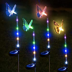 Clihere Solar Garden Stake Lights Outdoor-4 Pack Fiber Optic Butterfly Decorative Multi-Color Changing LED Solar Decorative Lights, Solar Powered Garden Lights with Colorful LED Light Stake