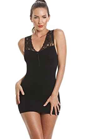 76762b96f46a6 Camille Womens Ladies Black Shapewear Support Vest Top  Camille  Amazon.co.uk   Clothing