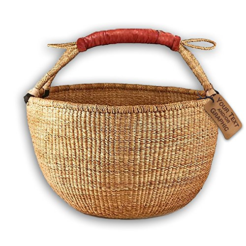 Bolga Market Tote Basket (Fair Trade) Natural Color XLarge w/ Leather Wrapped Handle (Shopping Baskets Leather Wicker With Handles)