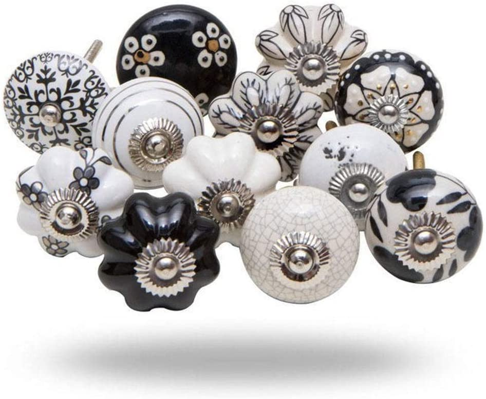 Set of 20 Assorted Vintage Black and White Cream Hand Painted Ceramic Pumpkin and Round Knobs Cabinet Drawer Handles Pulls (WOTT)… (20 pcs)