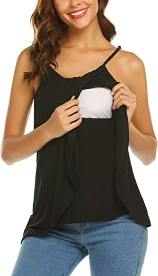 Gratlin Womens Sleeveless Round Neck Soft Maternity Nursing Tank Top