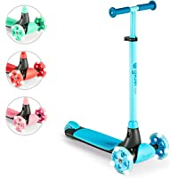 Yvolution Y Glider Kiwi | Three Wheel Kick Scooter for Kids with LED Wheels for Children Age 3+ Years