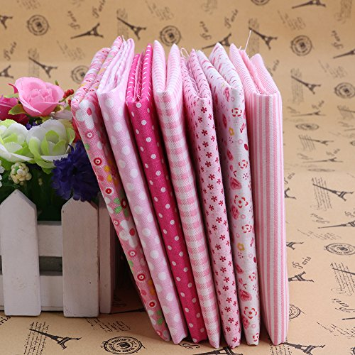 MEXUD-Wholesale Series 7Pcs Pre-Cut Plain Cotton Quilt Cloths Fabrics for Sewing (Pink) (Paisley Chenille Tapestry Fabric)