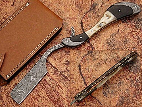 (W Trading Custom Hand Made Damascus Steel Blade Gorgeous Hunting Knife with Leather Pouch.)