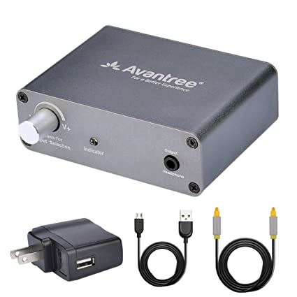 Avantree DAC Digital to Analog Audio Converter Box Adapter with Toslink Optical Cable, Volume Control