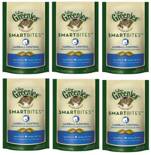 Feline Greenies 6-Pack Feline Smart Bites Treat, Tuna, 2.1-Ounce