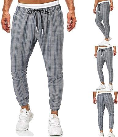 ACEBABY Pantalones Hombre Comodo Casual Impresión a Cuadros ...