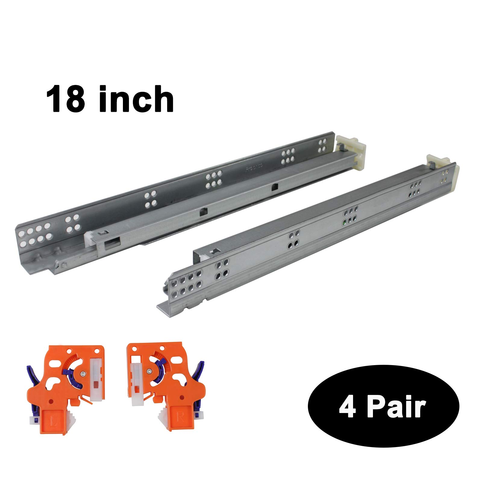 Pairs of Self Soft Close Under/Bottom Rear Mounting Drawer Slides 18''21''inch Concealed Drawer Runners;Locking Devices;Rear Mounting Brackets;Screws and Instructions (4 Pairs, 18 inch)
