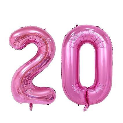 Meowoo Globo de Cumpleaños 20 Globo de Papel de Aluminio Globo Grande 100cm 40 Pulgada Fiesta de cumpleaños Suministros Decoración(Rosa Num 20)