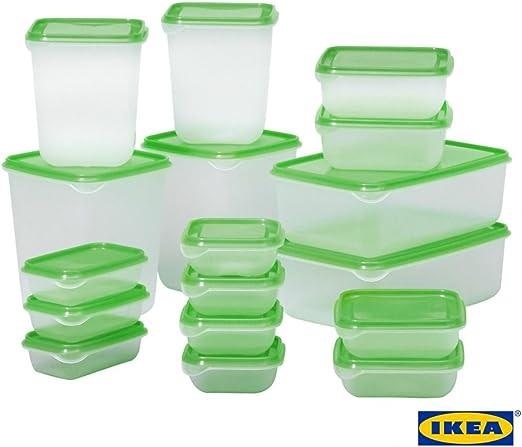 Ikea Pruta Set De 17 Boîtes De Rangement Alimentaires Standards En Plastique Durable Pour Réfrigérateur Et Congélateur Green