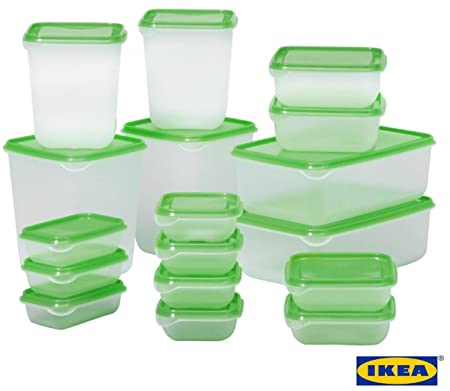 Superieur IKEA PRUTA Standard Durable Plastic Storage Food Containers Of 17 Pieces  For Fridge U0026 Freezer