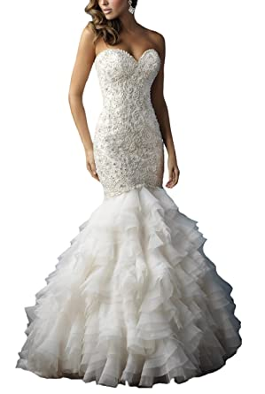 FairyBridal Strapless Layered Wedding Dresses Wedding Gown For ...