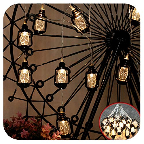 GIAGY 13.1FT 40 LED Copper Wire Starry Fairy Lights, 4.9FT 10 LEDs Battery Mini Retro Kerosene Lanterns, Flexible Romantic Warm Lighting for Home,Party,Holloween,Thanksgiving Decor & Christmas Décor -
