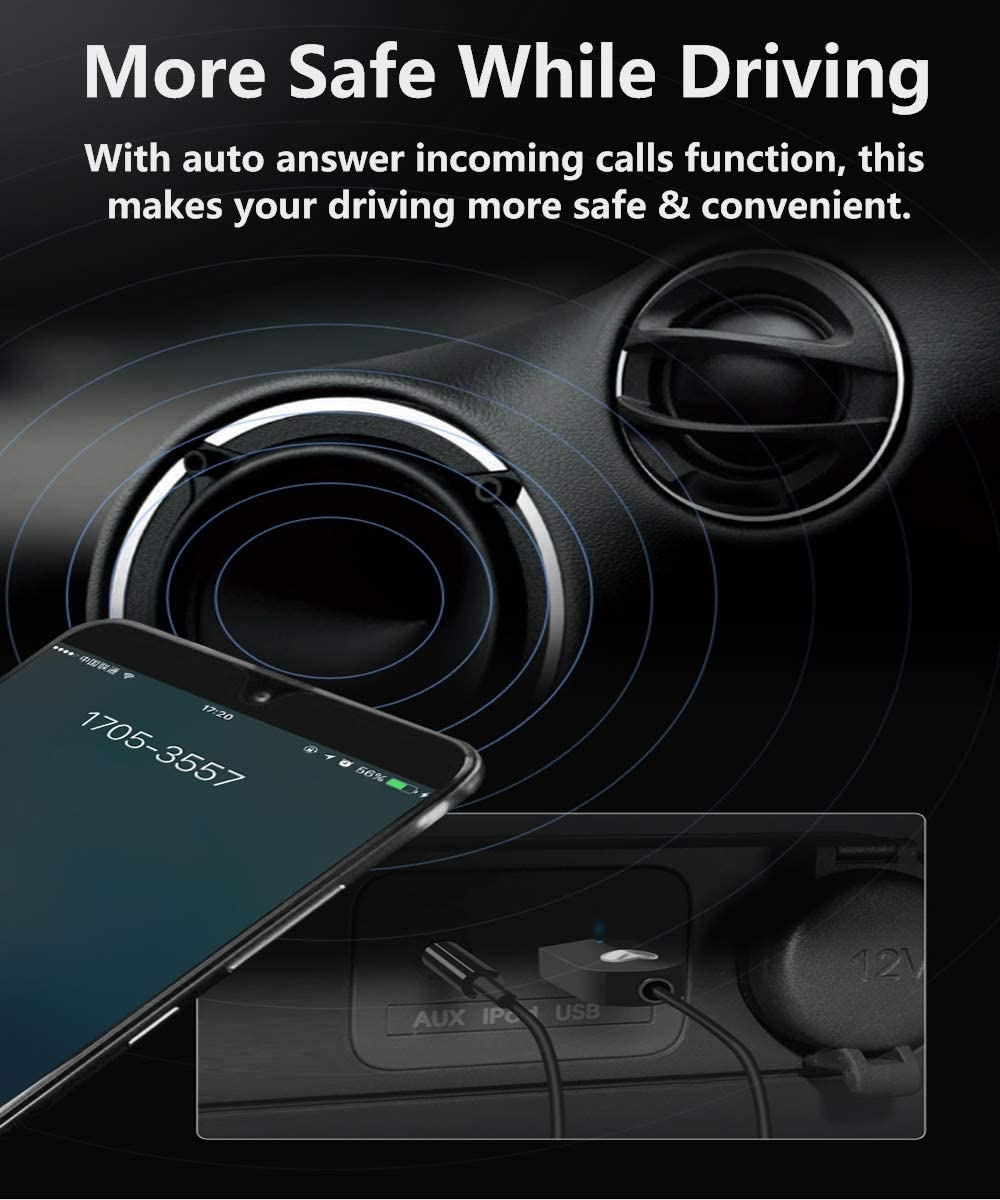 USB Powered /& Built-in Microphone Wireless Receiver for 3.5mm AUX Audio Car Speaker//Home Stereo Bluetooth 5.0 Adapter Bluetooth Receiver Hands-Free Car Kits