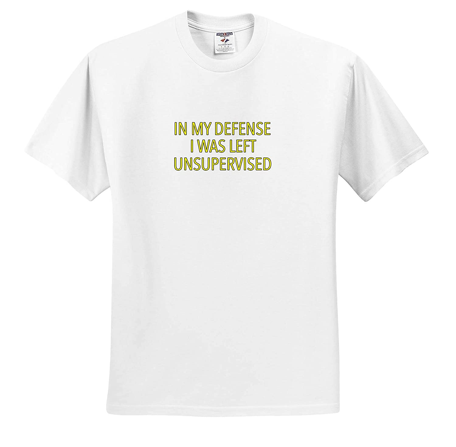 Funny Sayings ts/_320956 in My Defense I was Left Unsupervised Yellow 3dRose EvaDane Adult T-Shirt XL