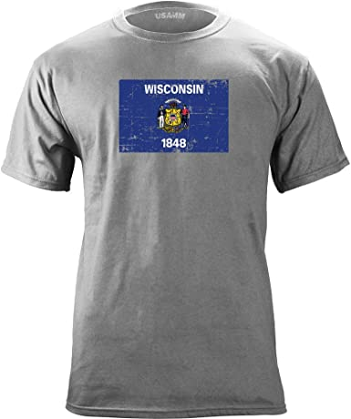 Wisconsin State Flag Distressed T-Shirt