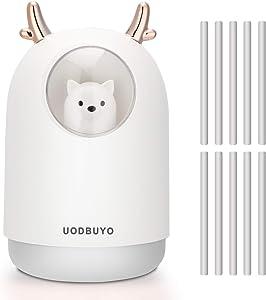 UODBUYO Portable Cool Mist Humidifier - 300ml USB Mini Air Humidifier with 10 Pcs Humidifier Sticks, 7 Color Night Light Room Humidifier for Bedroom Office Desk,Car,Travel (White)