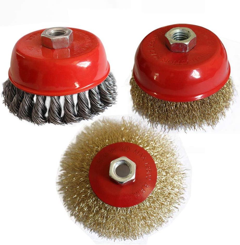 Brosses m/étalliques pour meuleuse dangle Brosse m/étallique torsad/ée 100mm et coupelle /à sertir en acier laitonn/é /ébavurer la rouille,filetage M14 brosse biseaut/ée 115mm pour enlever la peinture