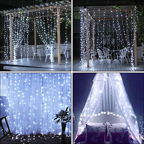 slashome Window Curtain Lights,29V 306 LED 9.8 x 9.8 feet with 8 Lighting Modes Christmas String Fairy Lights for Wedding, Home, Garden, Party, Festival, Holiday Decor.(White) (306LED White) from slashome
