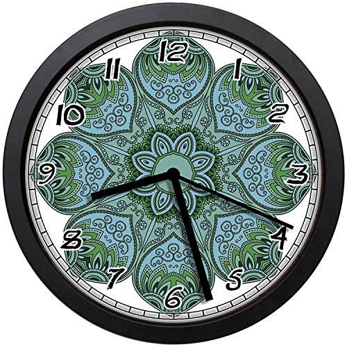 - BCWAYGOD Teal Green Paisley Mandala Flower Icon Round 12