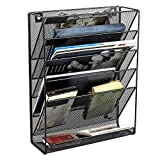 Hanging Wall File Organizer, Warmhoming 5 Slot Mesh Metal Magazine Rack Holder Organizer Wall Mounted Document Holder for Office Home