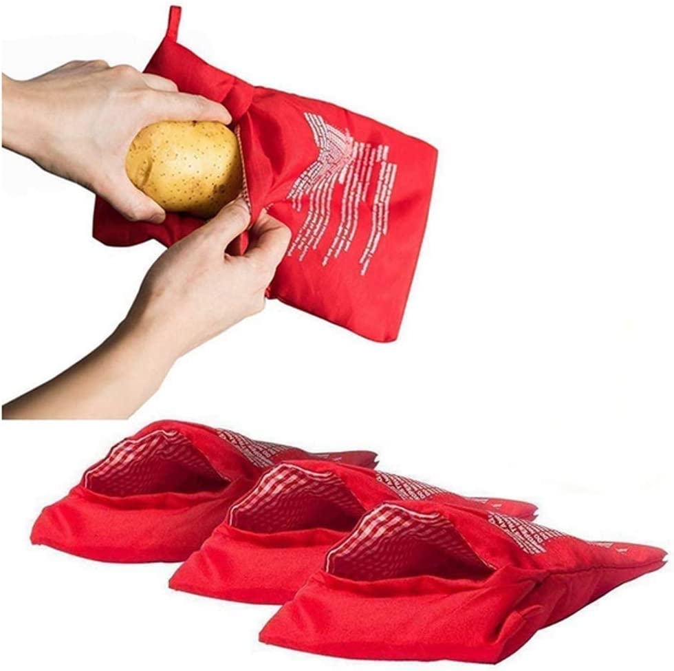 4PCS Reusable Express Microwave Potato Bag Saving Time Baking Fabric Pouch Bag for Any Type of Potatoes Express Bake Just in 4 Minutes (Red)