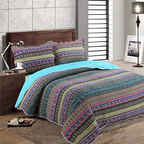 King Comforter Patchwork Quilt - Cotton Bedspread Striped 3 Pieces Sets Boho Style Blue -