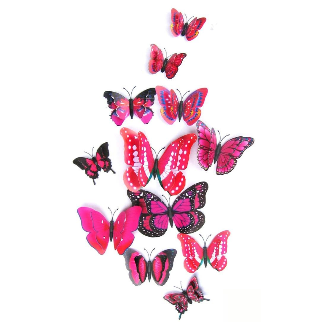 Bovake 12x 3D Schmetterlings-Wand-Aufkleber K/ühlschrankmagnete Raum-Dekor-Abziehbild-Applique Blue