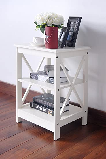 White Finish Wooden X Design Chair Side End Table With 3 Tier Shelf
