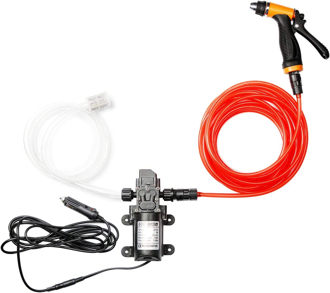 Portable 12v Car Pressure Washer 100W 120PSI Electric Washer Pump fits for Car Home Garden Cleaning Pet Cleaning by Big Autoparts