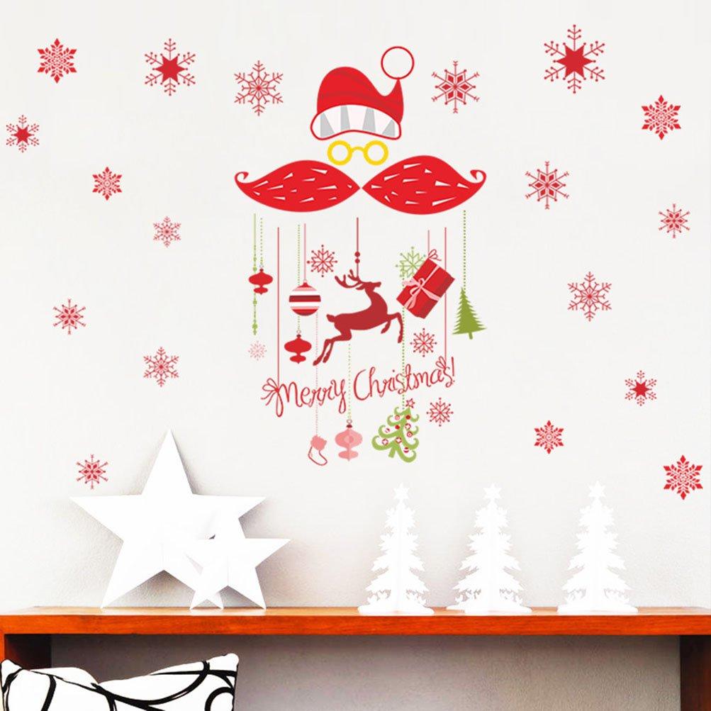 Rain's Pan Cartoon Merry Christmas Santa Claus Decorations Decal Window Stickers