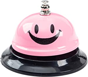 ASIAN HOME Call Bell, 3.35 Inch Diameter, Metal Bell, Pink Smiley Face, Desk Bell Service Bell for Hotels, Schools, Restaurants, Reception Areas, Hospitals, Customer Service, Pink (3 Bells)