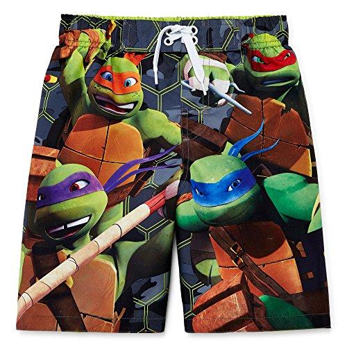 [Nickelodeon Boys' TMNT Trunk, Green/Black, 4] (Ninja Turtle Suits)