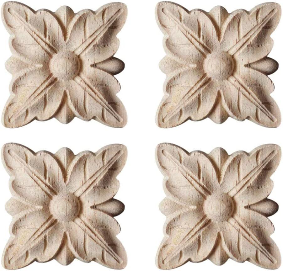 YUER 4 Pack Wooden Carved Onlay Applique Wood Carving Decal Unpainted Home Furniture Cabinet Decoration 2.36x2.36inch Type1
