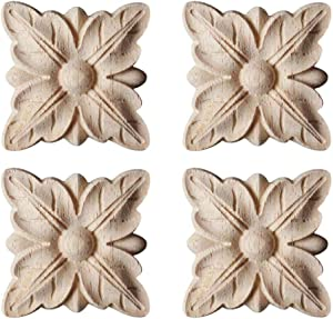 Enerhu 4 Pack Wood Carved Applique Onlay Square Carving Decal Leaf Pattern Unpainted Door Cabinet Furniture Decoration 1.97x1.97inch #9