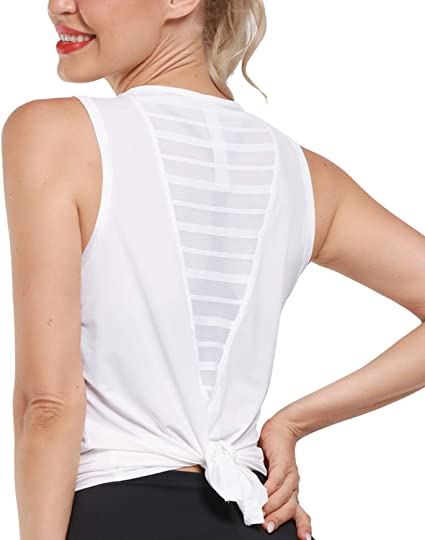 Promover Mesh Workout Tank Top for Women Yoga Shirt Gym Tops Sleeveless Tie Open Back Casual Activewear