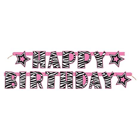 picture regarding Printable Happy Birthday Banner identified as 5.24feet Zebra Print Joyful Birthday Banner