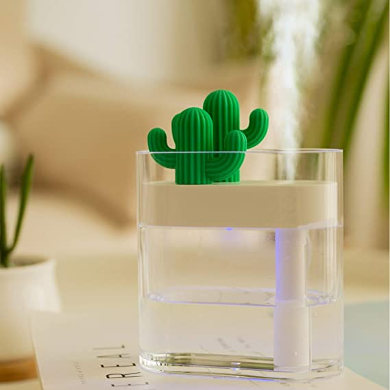 USB Cool Mist Humidifier with Night Light, Mini Size Cactus Humidifier for Bedroom Home Office Car with Timed auto Shutdown(Transparent)