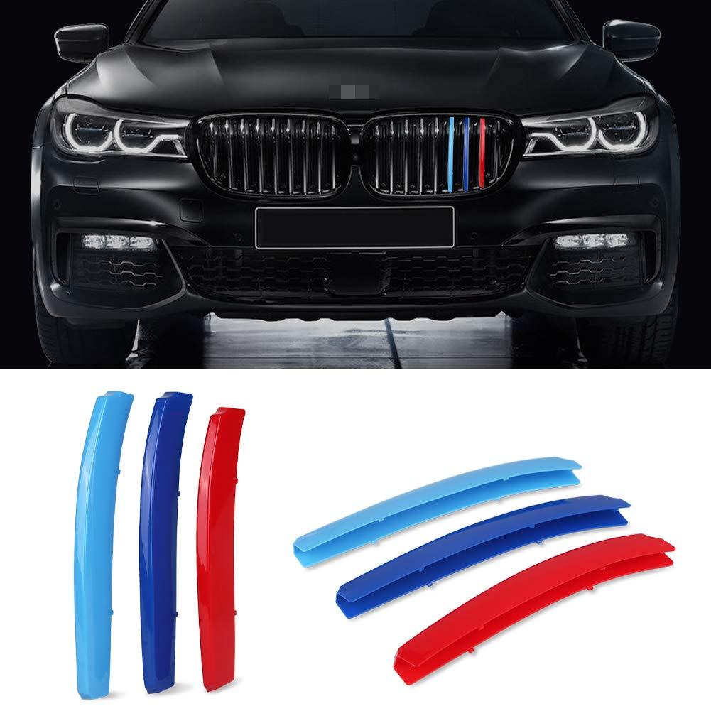 VANJING M-Colored Stripe Grille Insert Trims for BMW 2014-2015 7 Series 740i 740Li 750i 750Li (9 Beams) Kidney Grills