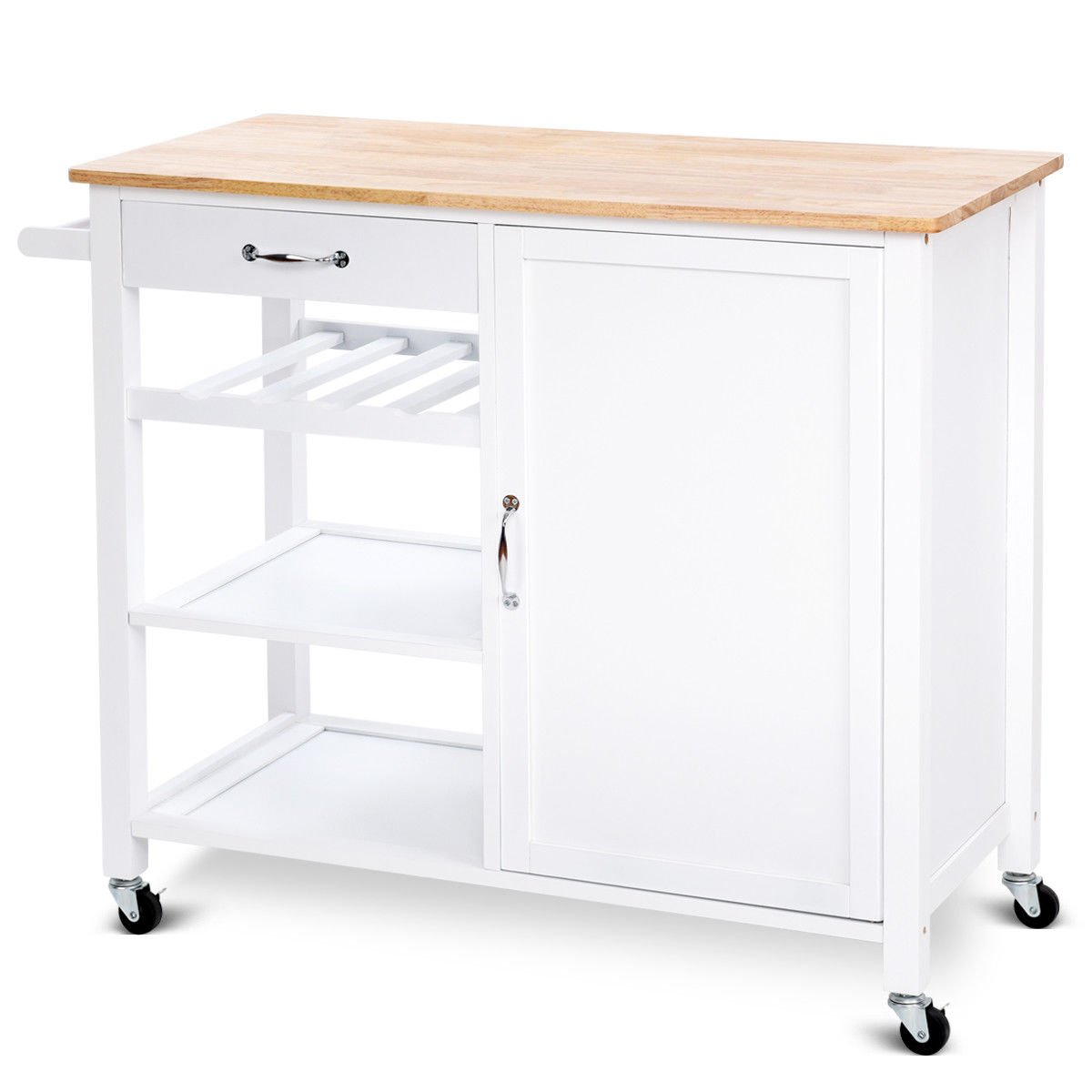 Giantex Kitchen Trolley Cart w/Wheels Rolling Storage Cabinet Wooden Table Multi-Function Island Cart Kitchen Truck (White) by Giantex (Image #6)
