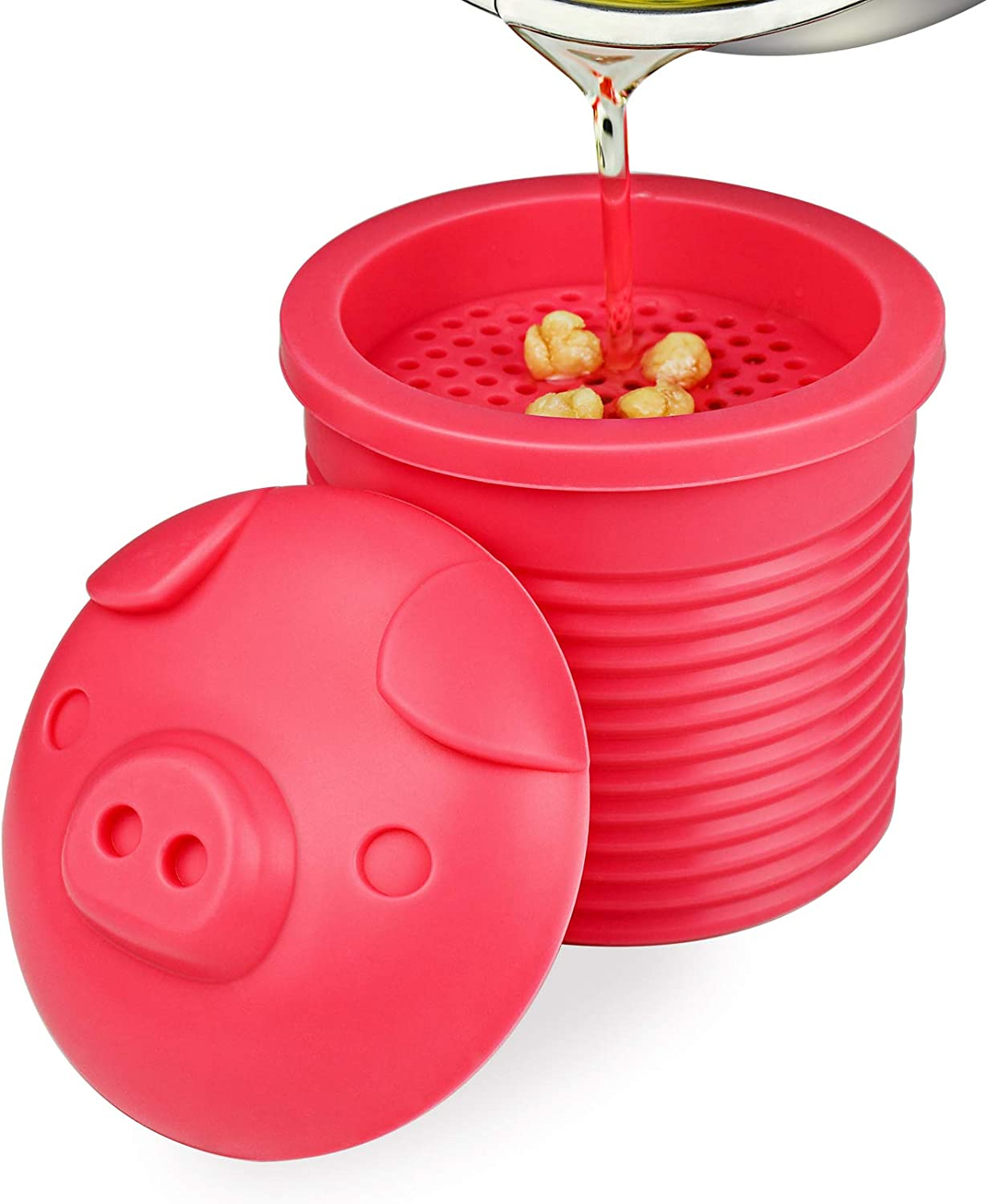 Bacon Grease Container Collector with Silicone Mesh Strainer Cute Pig Lid Food Grade Grease Can for Kitchen Frying Oil and Bacon Grease Storage (Rose Red)