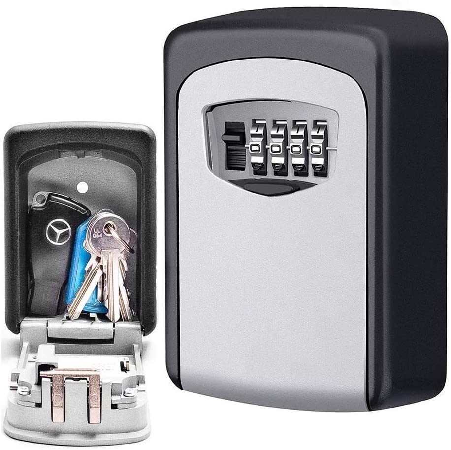 Lospu HY Key Lock Box with 4 Settable Digit Combination Wall Mounted Made of Weather Resistant Steel for Indoors or Outdoors Holds up to 5 Keys