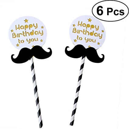 Image Unavailable Not Available For Color BESTOYARD Cake Topper Men Beard Cupcake Picks Birthday