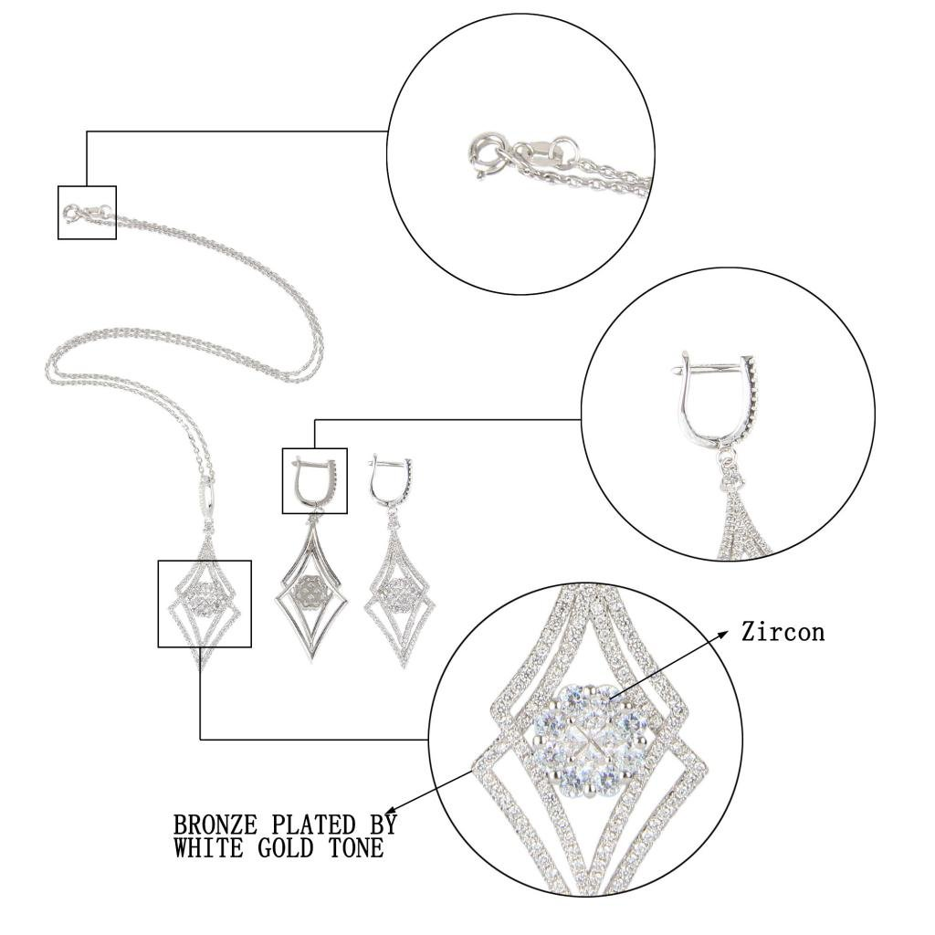 EVER FAITH Silver-Tone Zircon Elegant Double Rhombus Shaped Pendant Necklace Earrings Set Clear by EVER FAITH (Image #5)