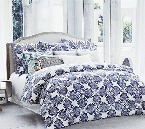 Italian Linen Duvet Cover - Stone Washed Flax Linen Duvet Quilt Cover Pure Genuine Linen Luxury 3pc Bedding Set Vintage Italian Damask Scroll Medallion Print Stonewashed Natural Taupe Grey (Queen, Navy Blue)