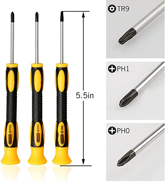TECKMAN T9 TR9 Torx Security Screwdriver with PH00 PH0 PH1 Phillips Screwdriver Set for Sony Playstation 4 Main,Controller Tear Down and Dust Removal Cleaning Repair Tool Kit for PS4