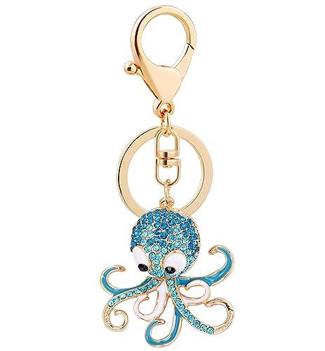 Amazon.com  Aibearty Cute Octopus Crystal Keychain Animal Keyring ... fd79e51171b0
