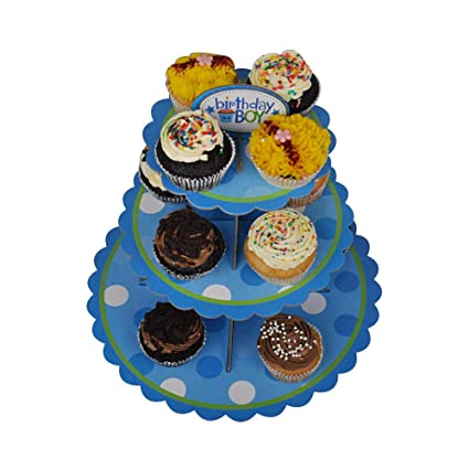 Ez Life 3 Tier Diy Cupcake Stand Disposable Cupcake Tower Blue Dots Party Supplies