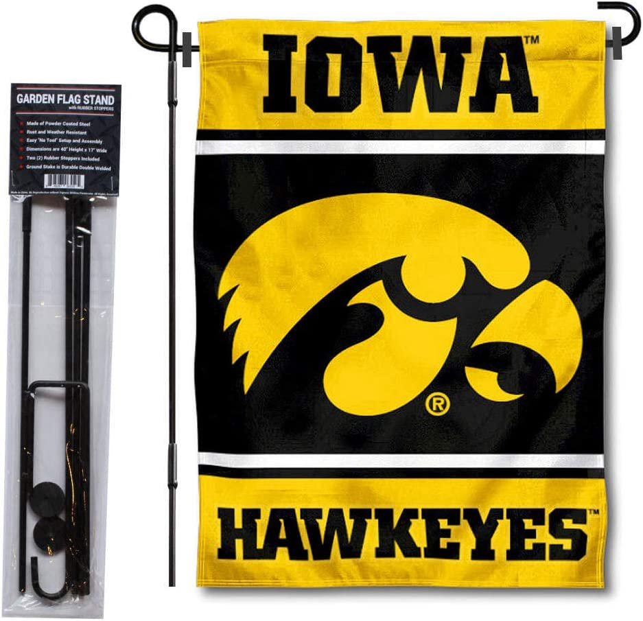 College Flags & Banners Co. Iowa Hawkeyes Garden Flag with Stand Holder