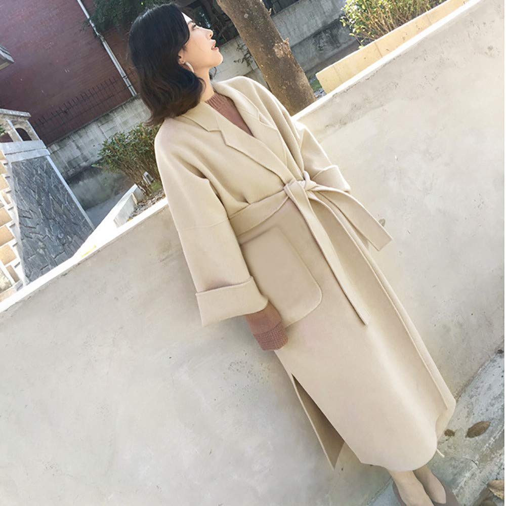 Amazon.com: AOJIAN Women Jacket Long Sleeve Outwear Belt Solid Cardigan Elegant Overcoat Trench Coat: Clothing